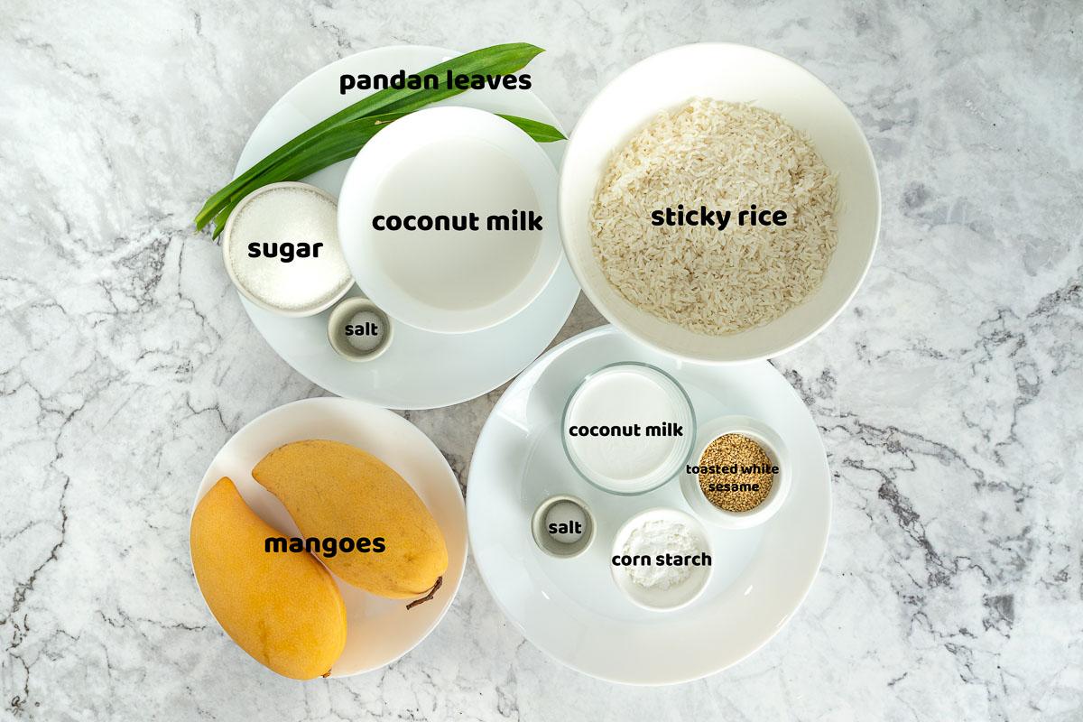 Thai mango sticky rice dessert ingredients